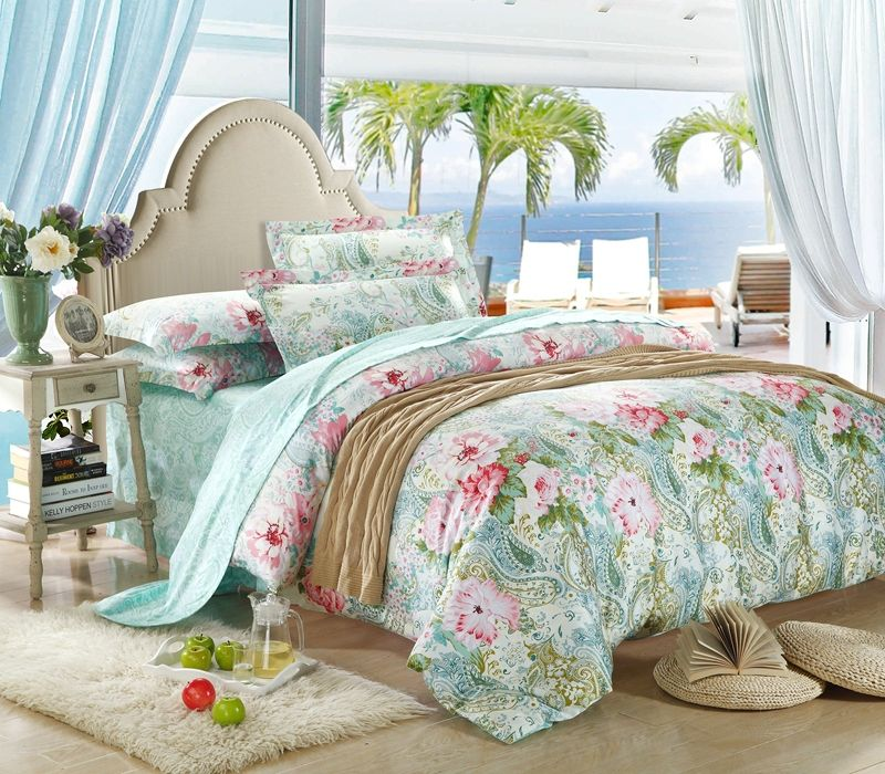 Mint Green And Pink Flowers Comforter, Pink And Mint Twin Bedding