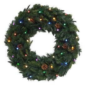 Holiday Living�30-in Canadian Spruce Indoor/Outdoor LED 35-Light Multi-Function Artificial Christmas Wreath