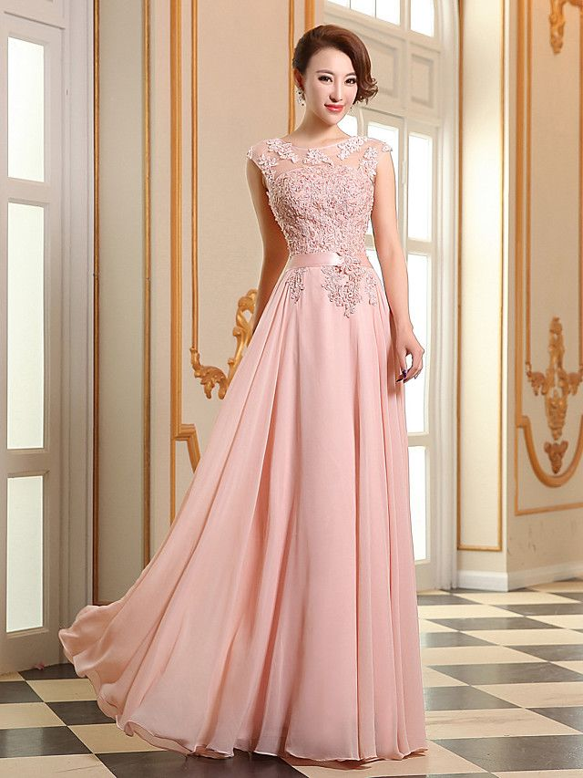 A-Line Jewel Neck Floor Length Georgette / Beaded Lace See Through ...