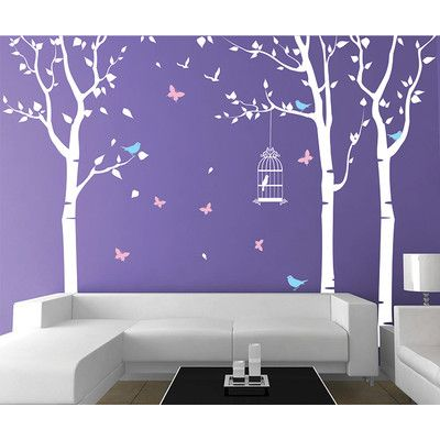 Pop Decors Three Birch Trees and Birdcage Wall Decal