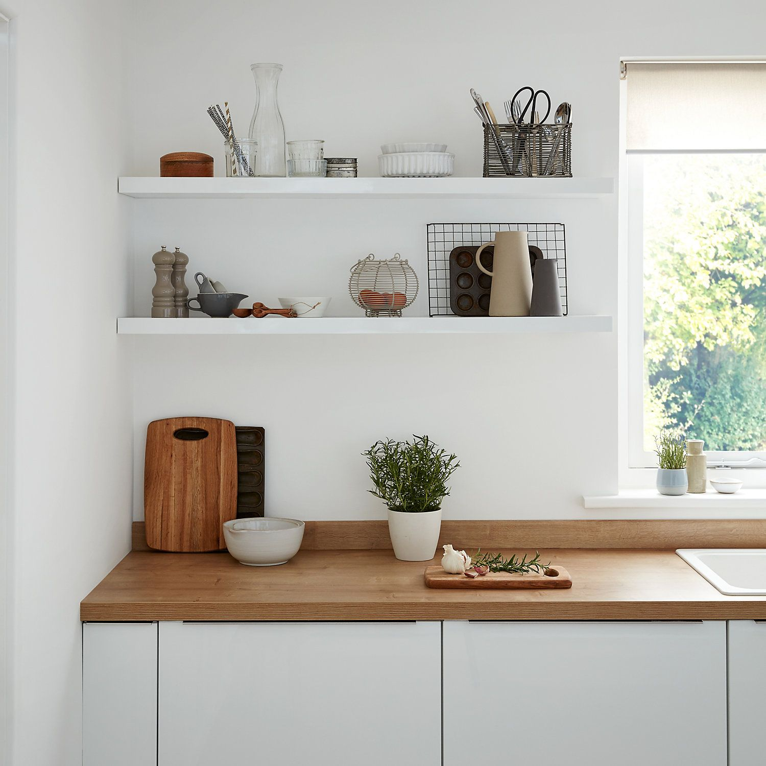 Cusko White Floating shelf (L)1180mm (D)235mm (With images