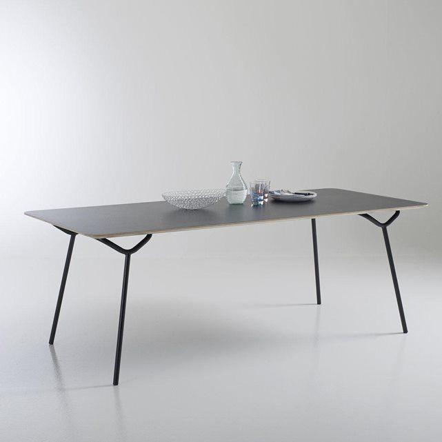 table de repas stratifi e laqu e 8 couverts pi tement tubes d 39 acier a a cooren sam baron la. Black Bedroom Furniture Sets. Home Design Ideas