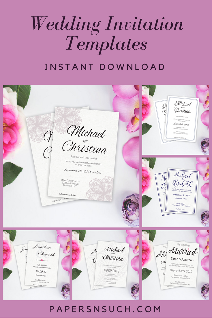 Wedding Invitation templates available as instant digital downloads ...