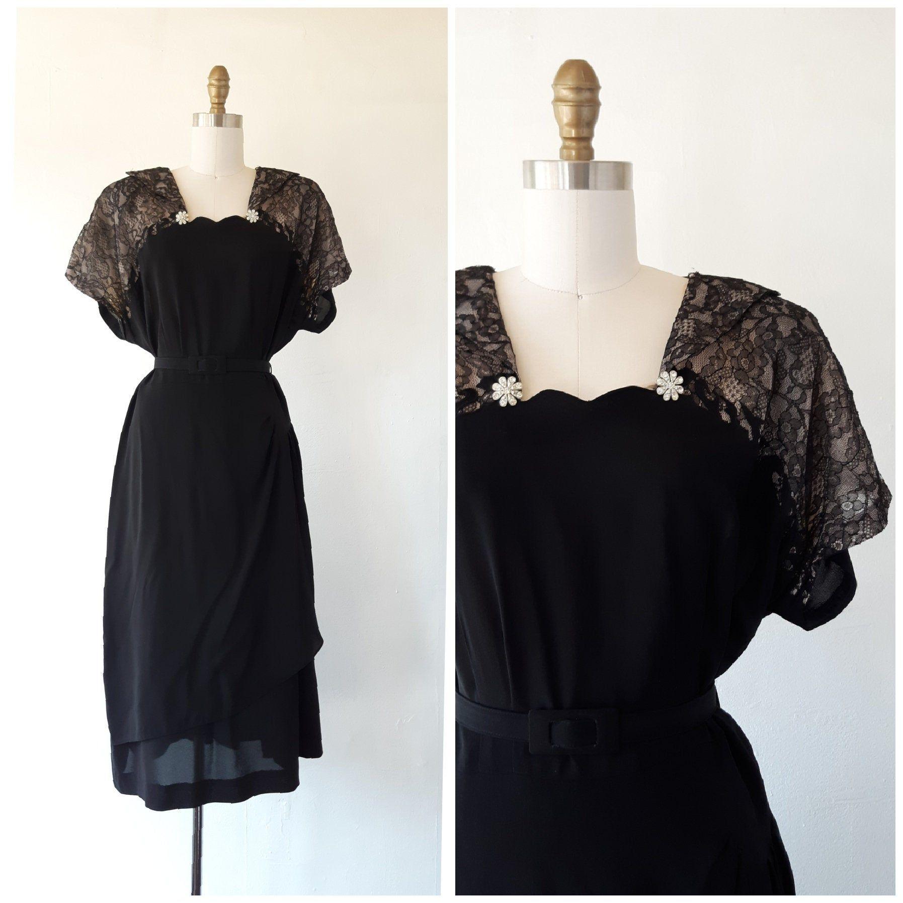 1950s Black Dress Vintage 1950s Black And Pink Lace Formal Etsy 1950s Black Dress Vintage Black Dress Pink Evening Dress [ 1795 x 1795 Pixel ]