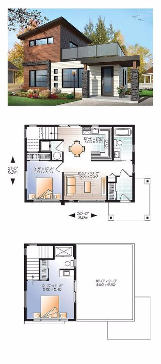 8 Stunning Open Concept Floor Plans For Tiny Homes Modern Style House Plans Small House Plans House Plans Open floor plan small house