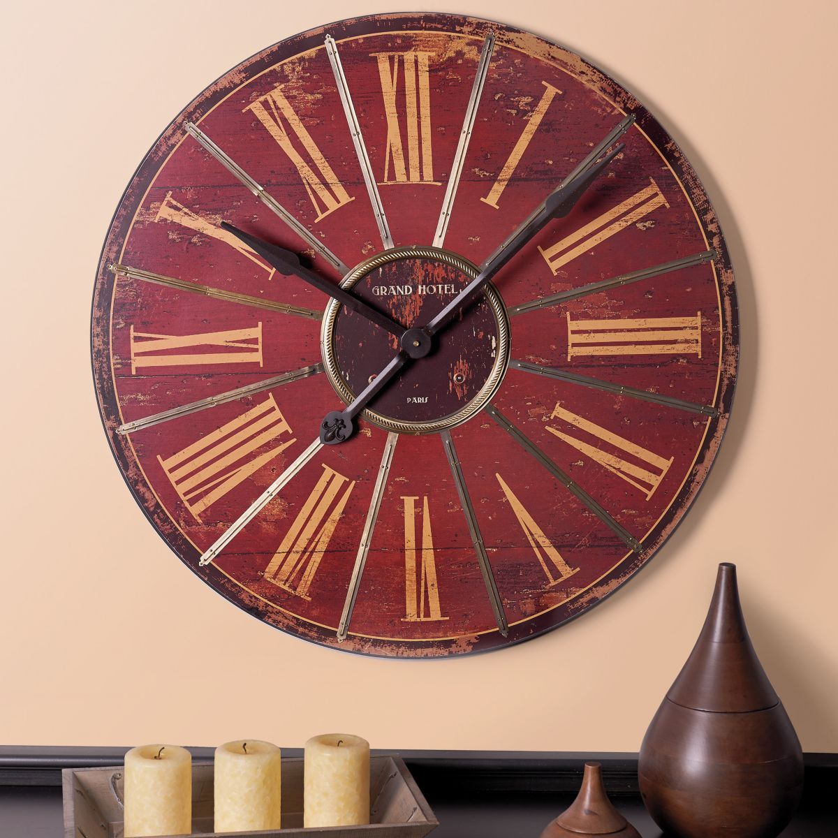 The Grand Hotel Red Wall Clock Is Inspired By Glamour Of A European This Oversized Adds Touch To Any Room