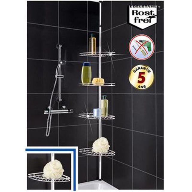 etagère téléscopique en inox angle de salle de bain | etagere