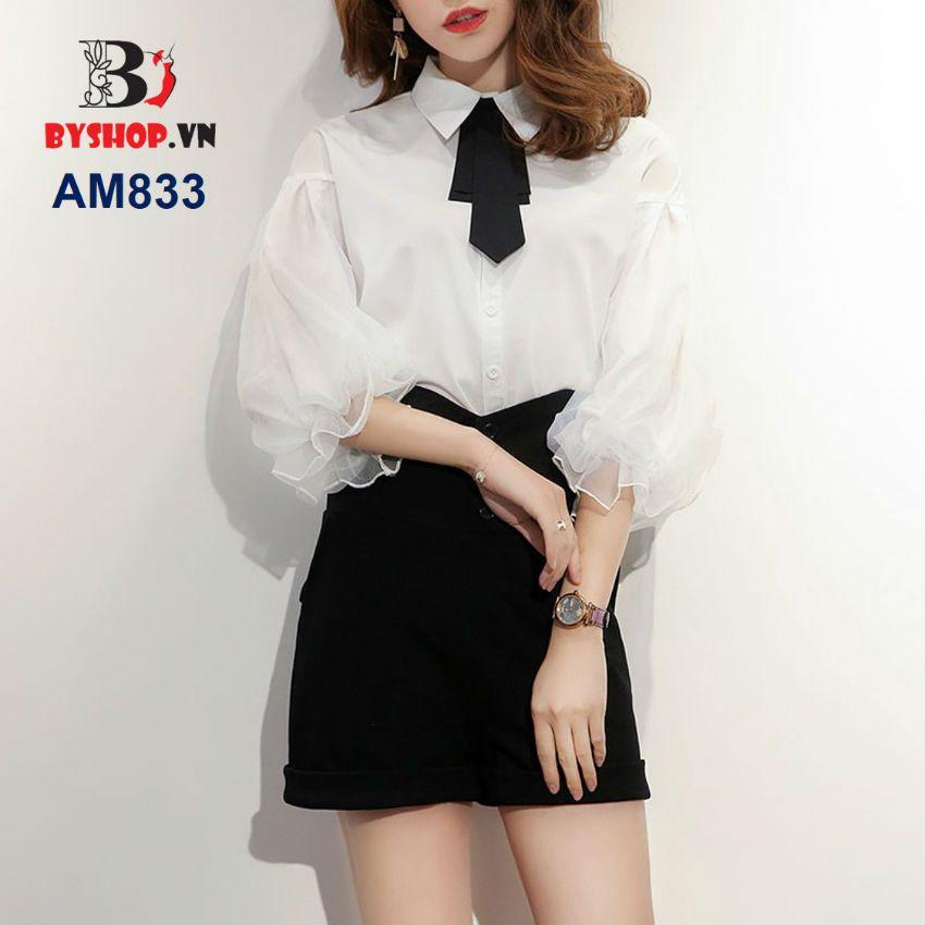 Photo of AM833 – Sleeveless shirt with chiffon mesh, belted …