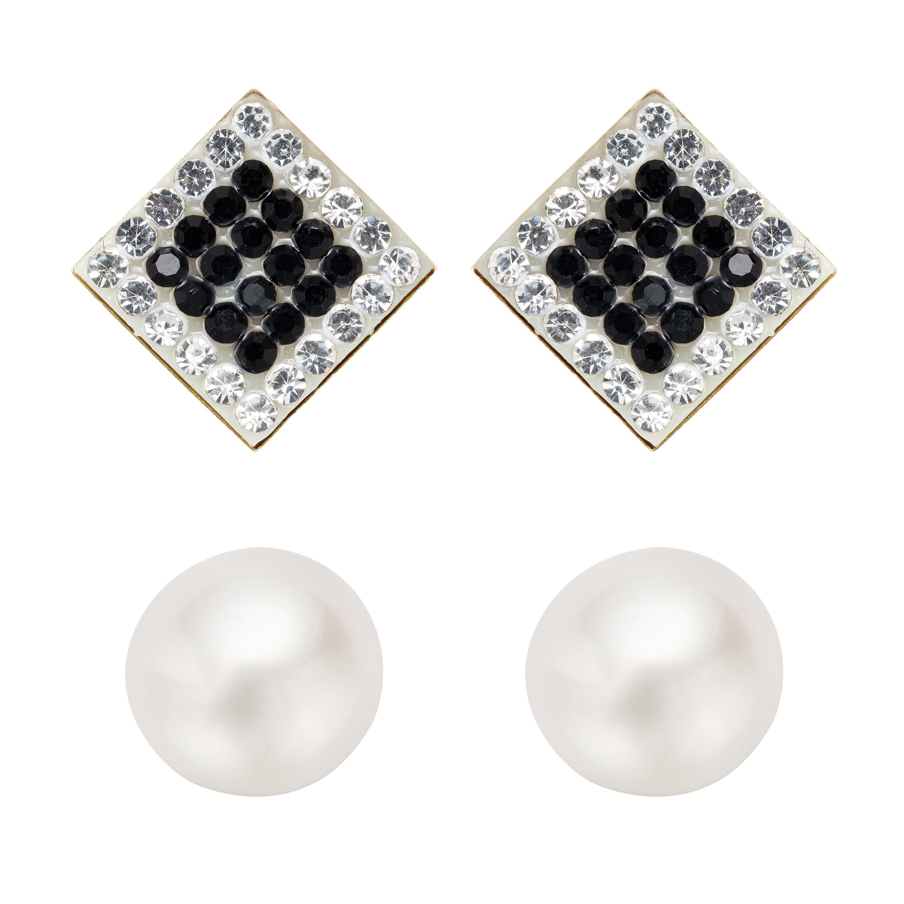 fc109f601 Pearlyta 14k Gold Round Pearl and Black CZ Square Stud Earrings Set with  Gift Box