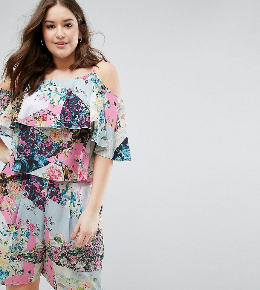 Exclusive Mix Print Floral Top - Multi Asos Curve Cheap Low Shipping Cheap Sale Order Sale High Quality Wear Resistance c1NdUyj