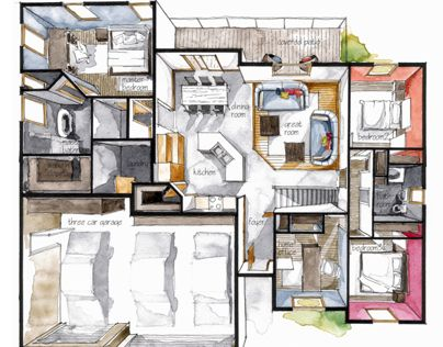 Real Estate Watercolor 3d Floor Plan Iii Architectural Floor