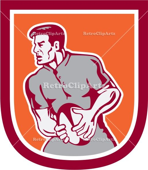 artwork, ball, crest, graphics, illustration, male, man, pass, passing, player, retro, rugby, rugby league, rugby union, shield, sideview, s...