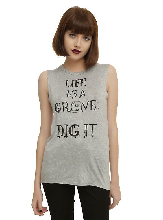 Life Is A Grave Girls Muscle Top,