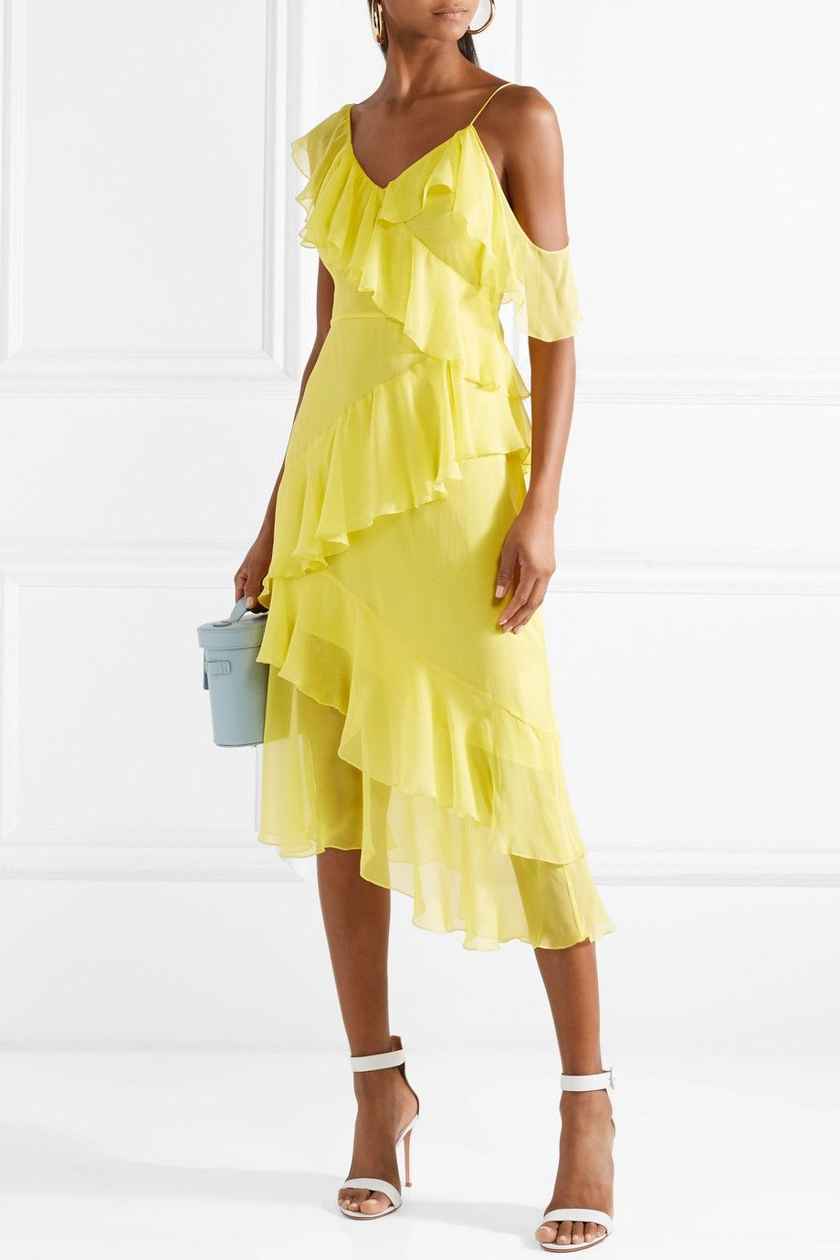 Olympia Cold-shoulder Ruffled Silk-chiffon Midi Dress - Bright yellow Alice & Olivia Sale Sale Online Outlet Choice Factory Outlet Cheap Online With Paypal Sale Online gaYWg