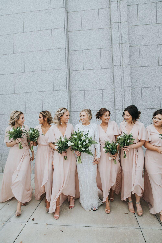 Charming short sleeves v neck cheap long wedding party bridesmaid