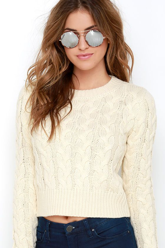 cf904a3464 JOA Gentle Slope Cream Cropped Cable Knit Sweater