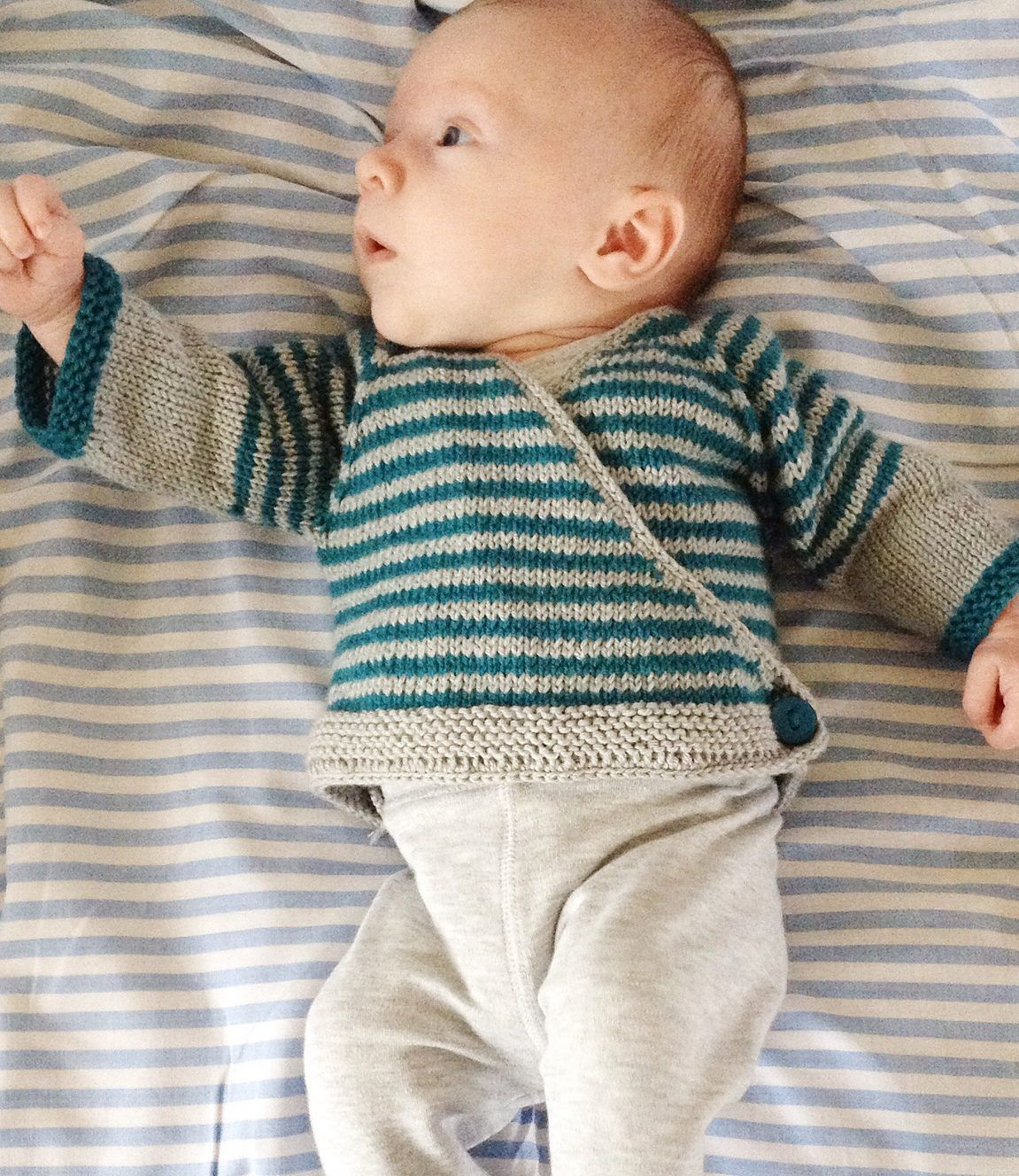 588185bc32ef Free Knitting Pattern for Easy Striped Baby Cardigan - Easy wrap ...