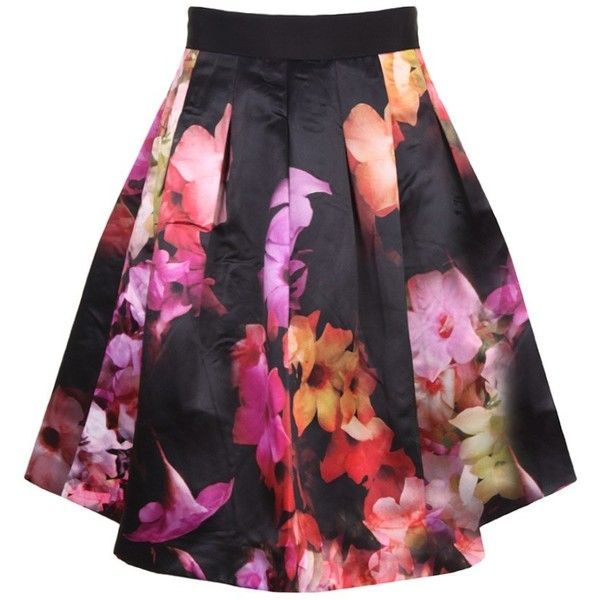 33de5b4a8 Ted Baker Ladies' Abaigh Cascading Floral Full Skirt Black ❤ liked on  Polyvore featuring skirts