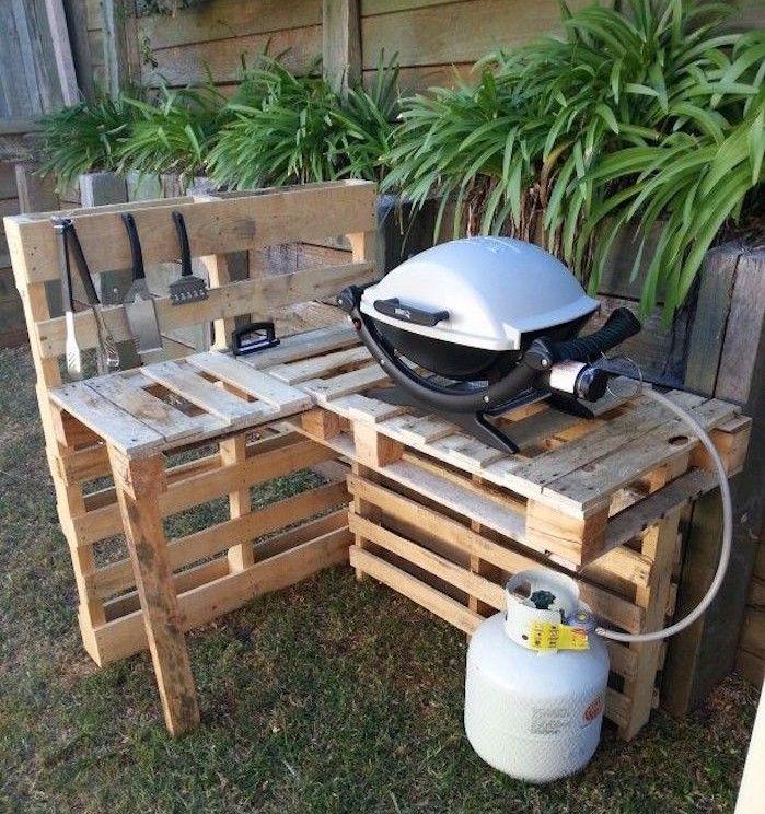 Meuble De Jardin En Palette Ou Stand Ou Plan De Travail Pour Barbecue Pas  Cher