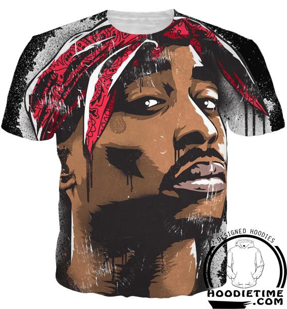 53bbf8c005e Tupac Face Hoodie 2pac Black - 3D Pullover Clothing - Hip-Hop Hoodies