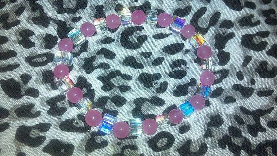 Pink Jade and Swarovski Crystal Rainbow Square Beads by mollylong2, $12.00