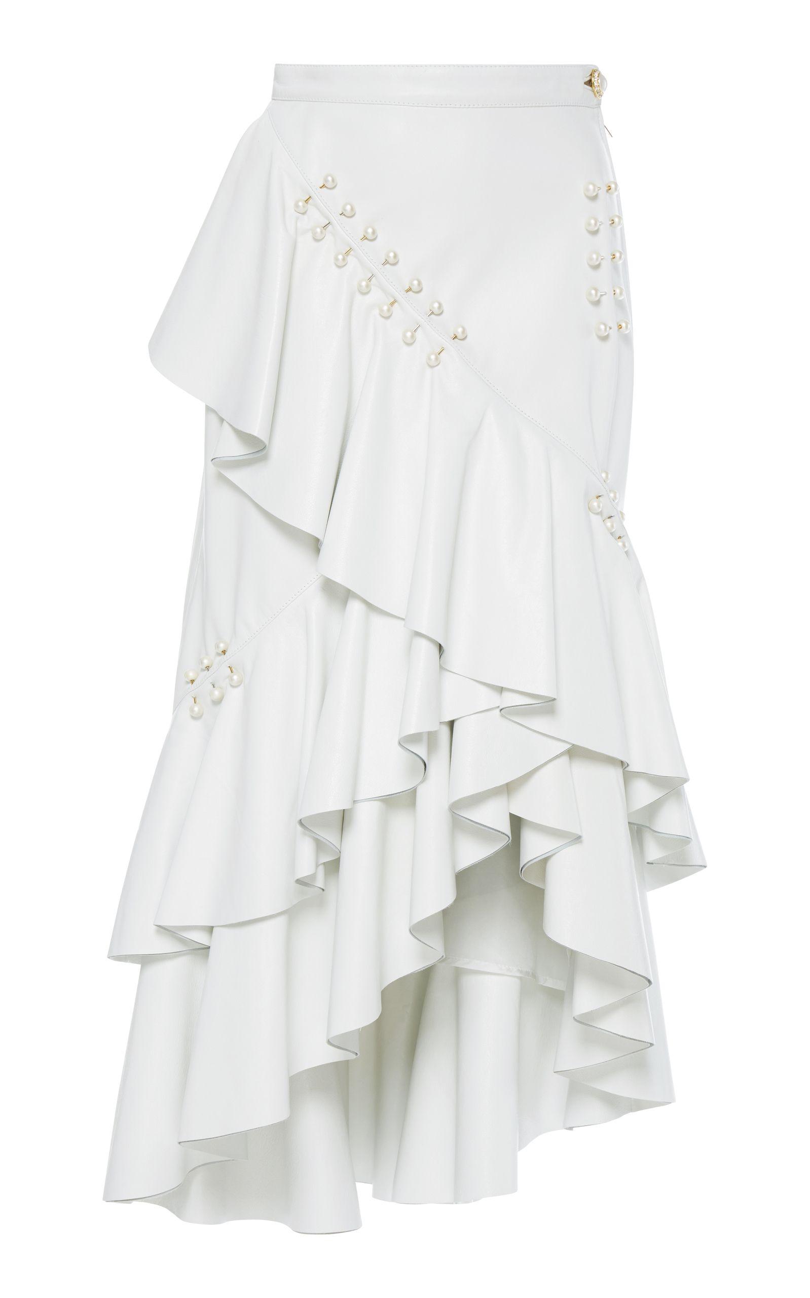 1df36621da Leather Ruffled Skirt | #Whiteout | Ruffle skirt, White leather ...