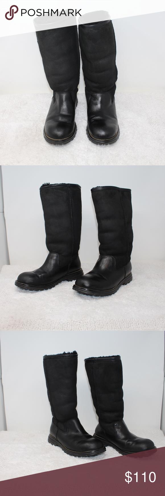 91b42e7b8b0 UGG Brooks Brook BLACK Suede Leather High Boots 7 Size 7, EU 38 ...