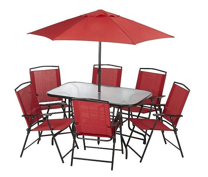 Lowes Outdoor Patio Furniture Clearance Table Chairs Umbrella 8 Piece New Alcove