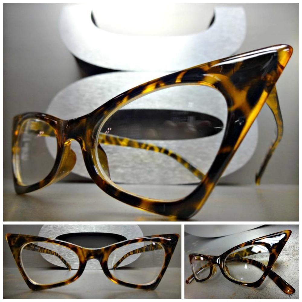 414f163058 CLASSIC VINTAGE 50 s RETRO CAT EYE Style Clear Lens EYE GLASSES Tortoise  Frame