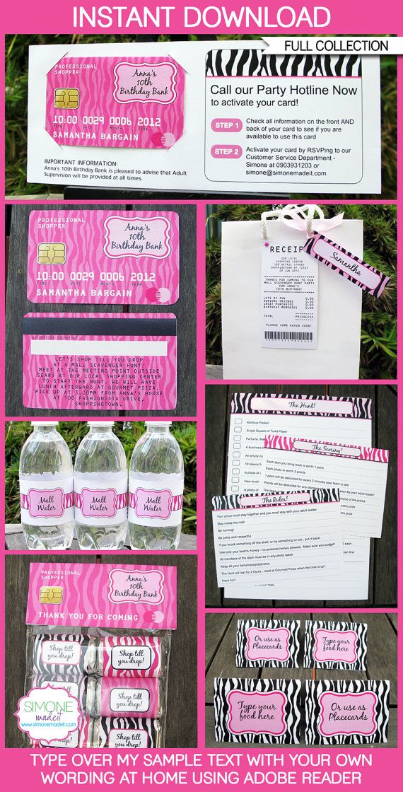 Mall Scavenger Hunt Party Collection with Invitation, EDITABLE Text ...
