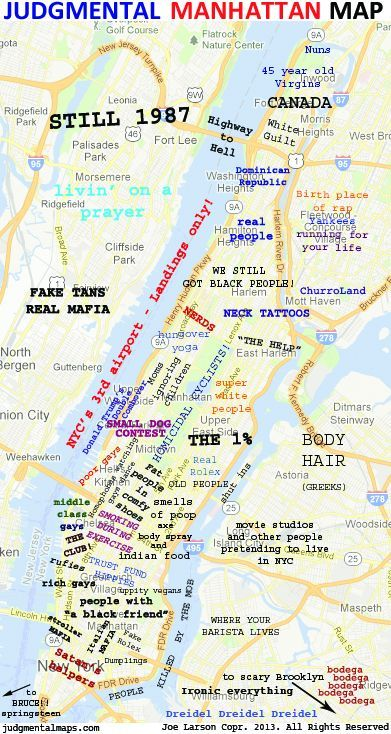 Judgemental Map Of New York Judgmental Map Of Manhattan With Images Nyc Map Manhattan Map Map