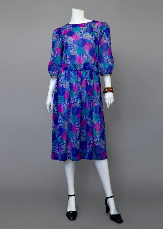 7fd2366dd6 Vintage 80s Party Dress • Sheer Floral Dress • 1920s Style Chiffon Dress •  Drop Waist Puff Sle