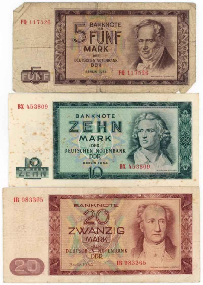 Banknoten Der Mark Der Ddr Ausgabe 1964 Ddr Ddr Geld Ddr Bilder