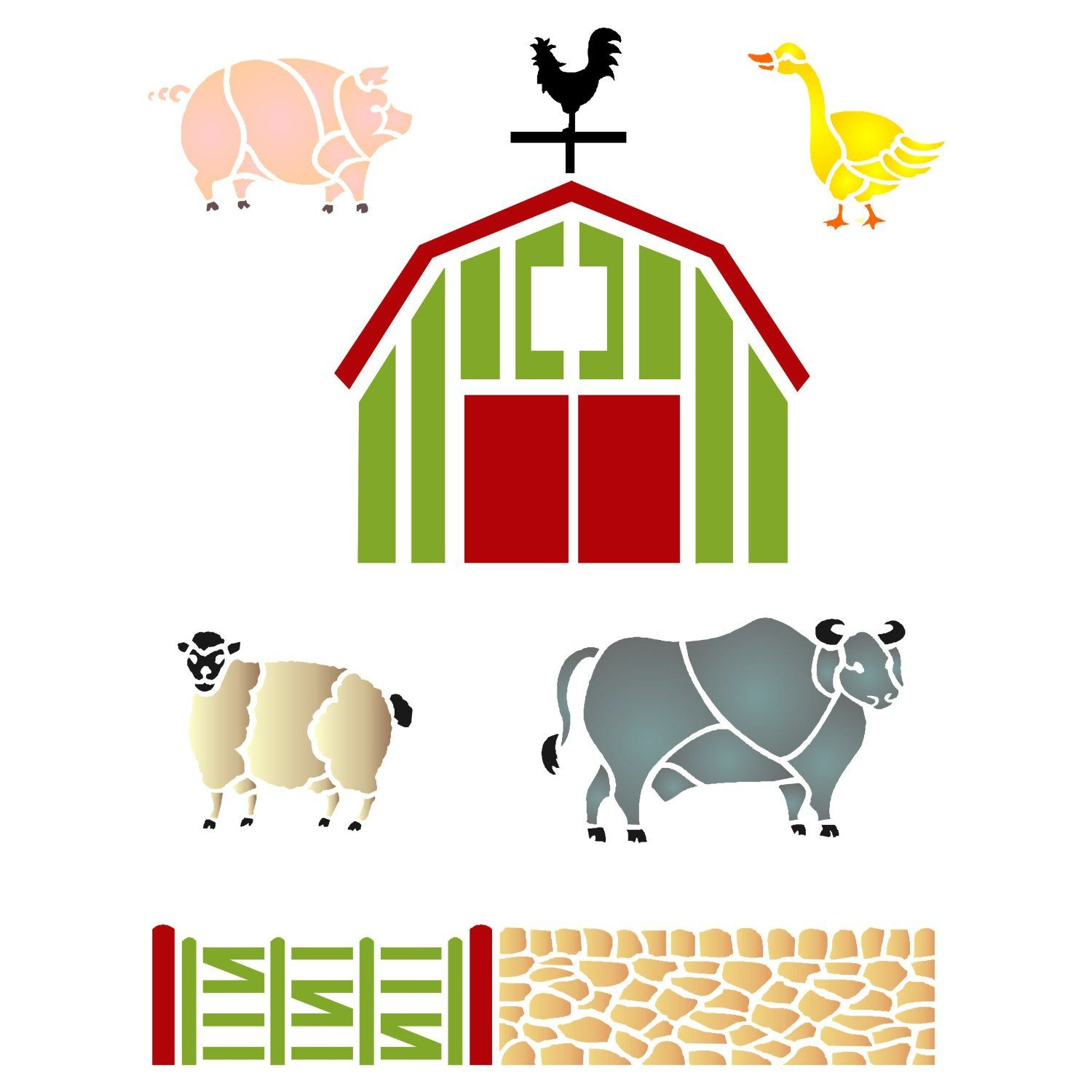Amazon farm animal stencil size 65w x 85h reusable amazon farm animal stencil size 65w x 85h reusable wall stencils for painting best quality farm animals and barn ideas use on walls amipublicfo Gallery