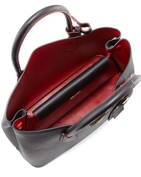 Saffiano Cuir Double Small Tote Bag Black Red Nero Fuoco