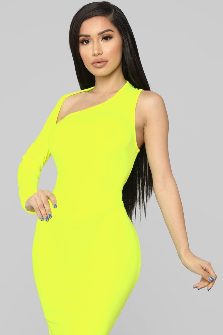One Of A Kind Asymmetrical Dress Neon Yellow