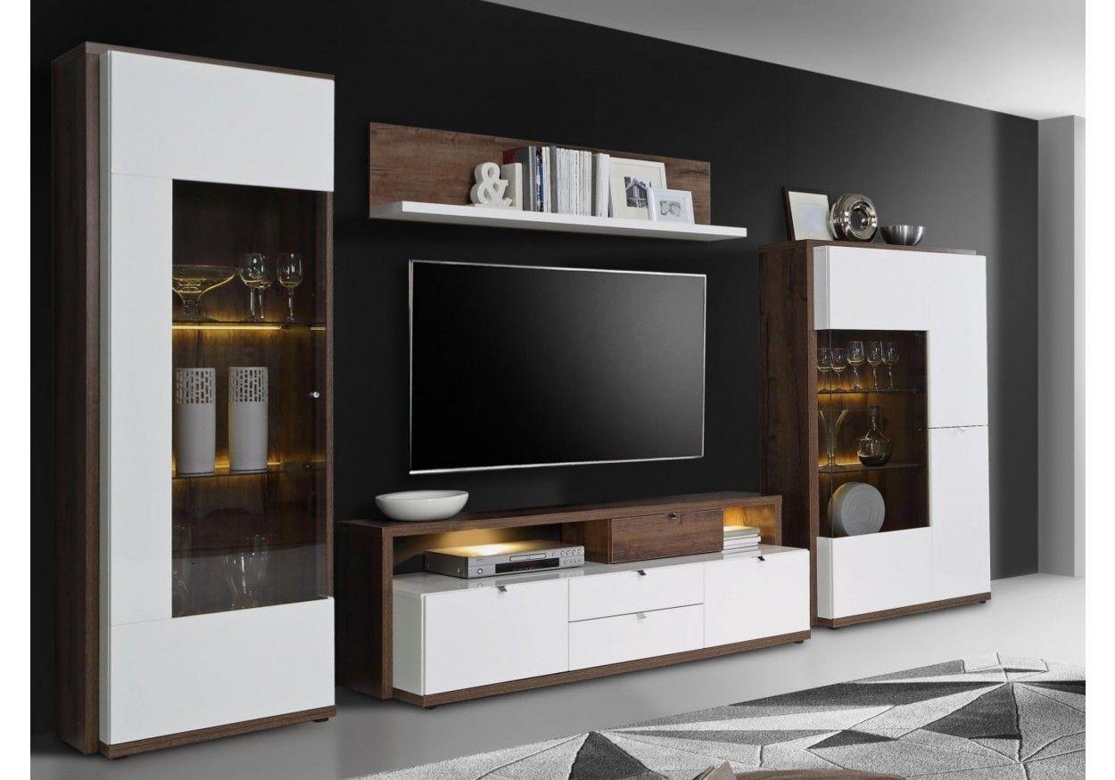 77 00772 Wohnwand Weiss Hochglanz Und Schlammeiche Online Möbel Wohn Design Wohnwand Weiß Hochglanz