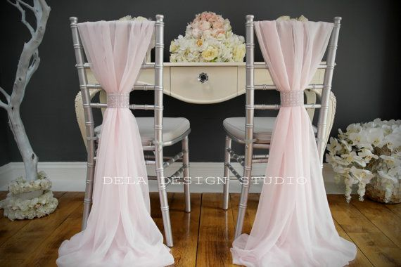 Blush pink wedding chair covers...Etsy listing at //.etsy.com/listing/181025400/chiffon-chair-cover-sash-pale-pink & Wedding chiffon chair cover sash ~ Pale Pink - wedding chair cover ...