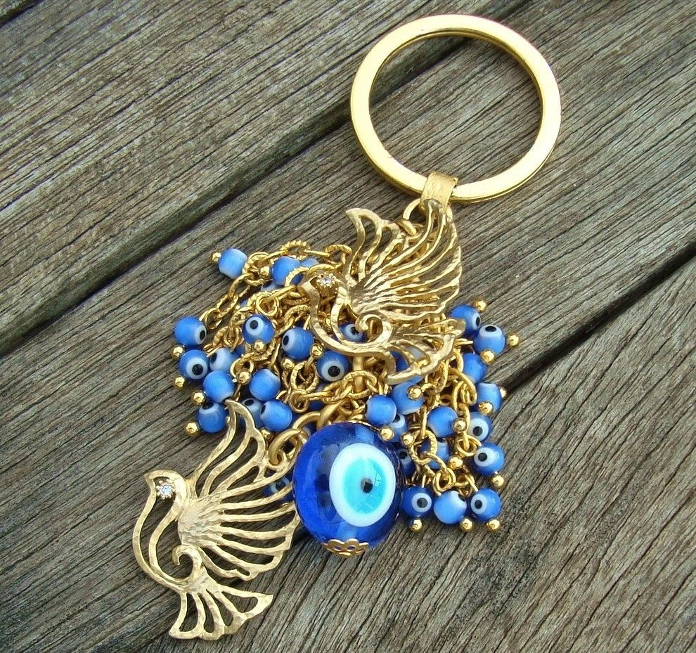 Evil Eye Beaded Bird Keychain by cocolocca on Etsy