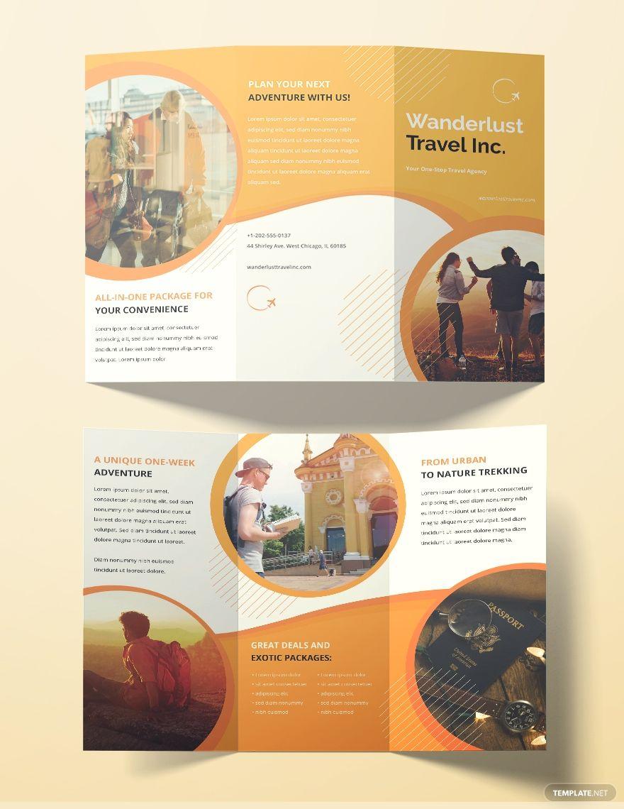 Free Printable Travel Agency Brochure Template in 2020