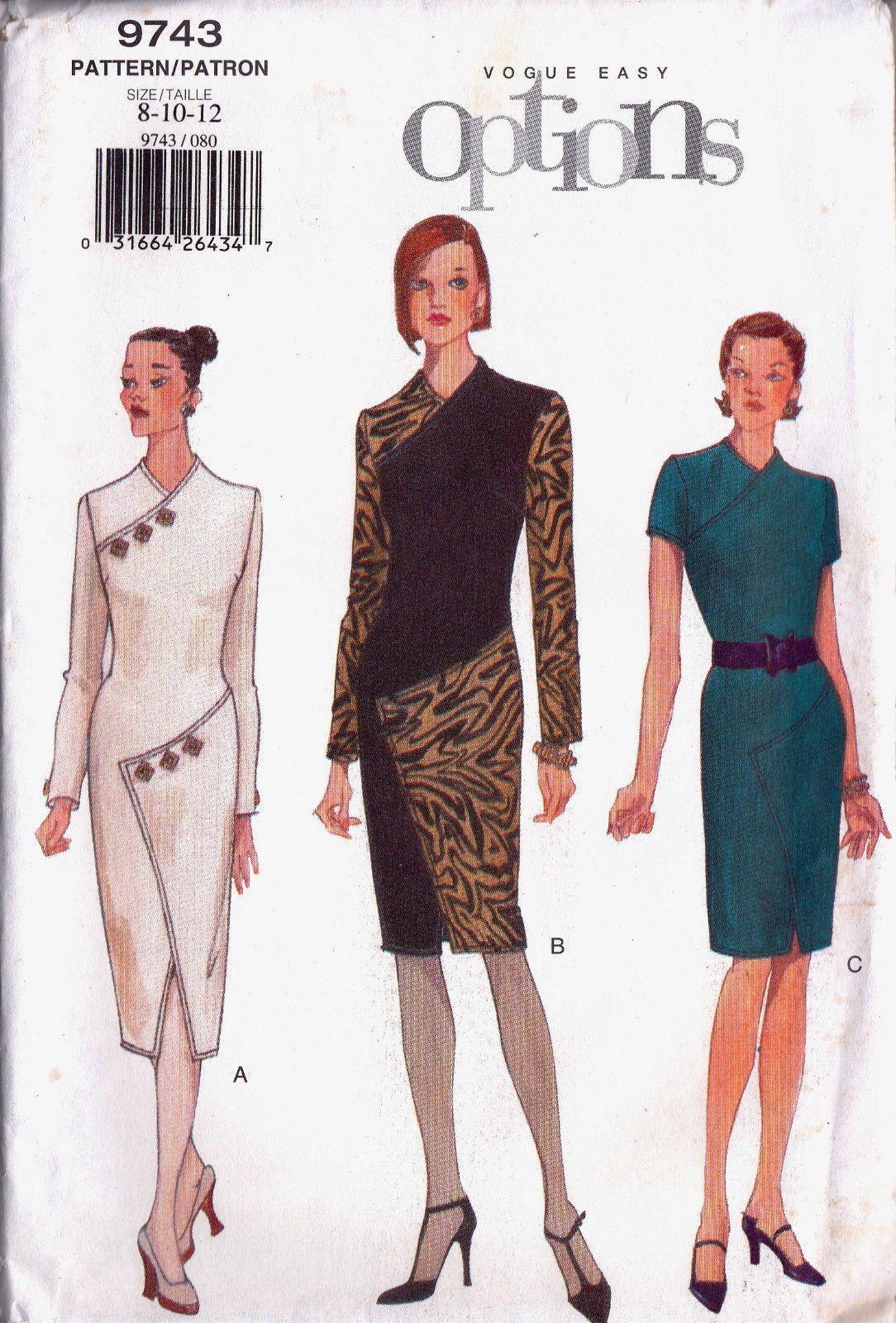 Vogue options sew pattern 9743 cheongsam style dress 8 10 12 vogue options sew pattern 9743 cheongsam style dress 8 10 12 ebay jeuxipadfo Choice Image