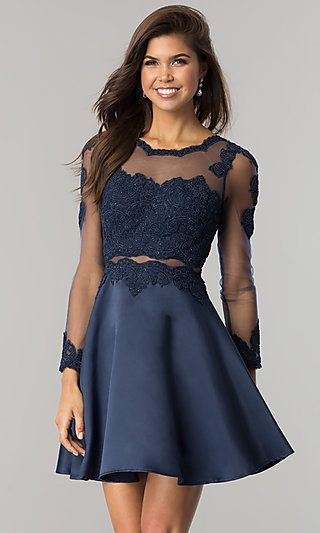 LaceApplique MockTwoPiece Short Prom Dress - Winter formal dresses short, Long sleeve homecoming dresses, Two piece homecoming dress, Long sleeve short dress, Homecoming dresses long, Formal dresses with sleeves - Do you love the twopiece dress trend this season but are not quite ready to take the plunge  This adorable aline mocktwopiece short prom dress will give you the look you want for your next semiformal event  The longsleeve illusion bodice features is beautifully decorated with rhinestonestudded embroideredlace applique  The bateau neckline, waist and sleeves of this short prom dress are trimmed with embroideredapplique trim  The abovetheknee satin skirt begins at the natural waist  All eyes will be on you in this daring, but not overthetop, trendy looking mock twopiece short prom dress