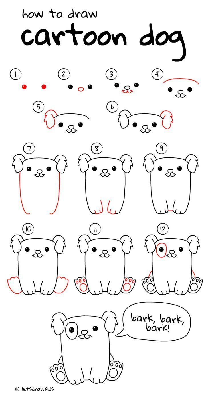 How To Draw Cartoon Dog Easy Drawing Step By Step Perfect For Kids Let S Draw Kids Http Letsdrawkids C Easy Drawings Cartoon Drawings Dog Drawing Simple