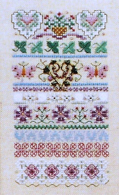 Exquisite Just Nan HEART Of GOLD Band SAMPLER & Embellishment Beads Accessory Pack Kit - Counted Cross Stitch Pattern Chart