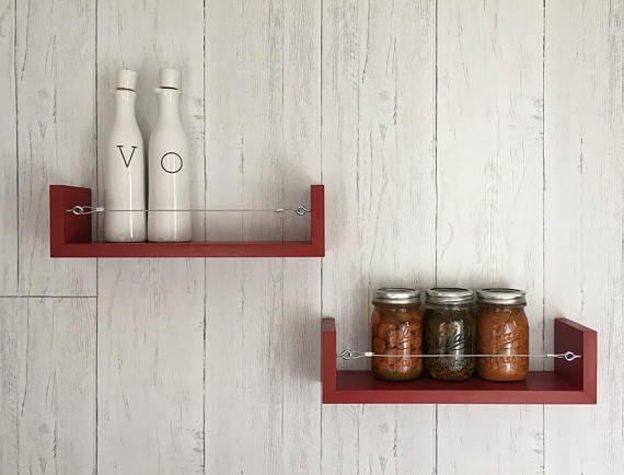 Merveilleux Spice Racks  Choose Your Color! Floating Shelves KitchenKitchen ...