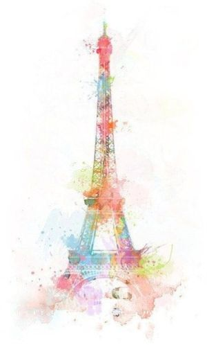 Eiffel Tower Original Watercolor Paris France Sunset Orange Blue