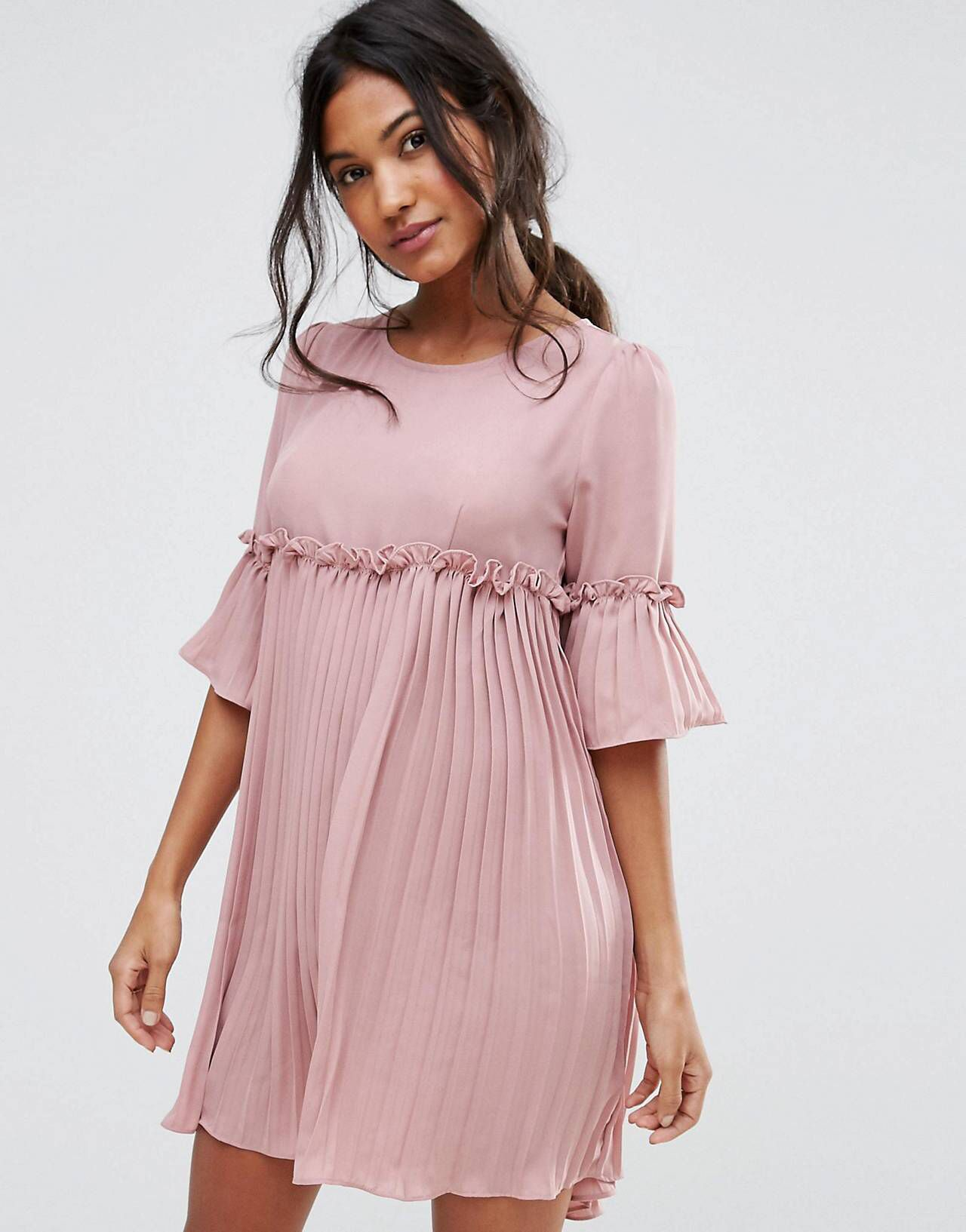 Boohoo Ruffle Pleated Woven Dress