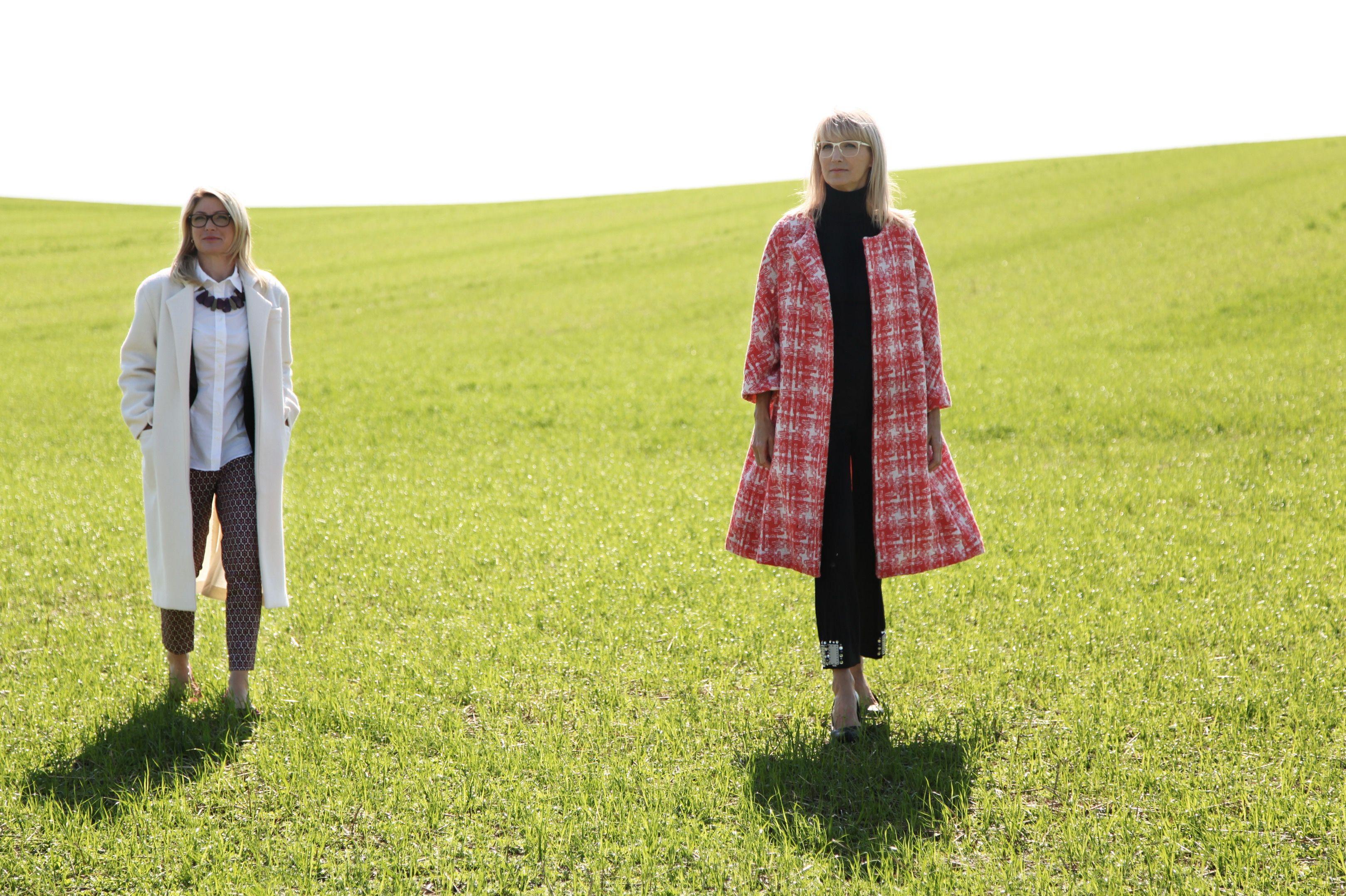Schnittmuster zum Download: weißer Mantel und Mantel mit Karo-Muster ...