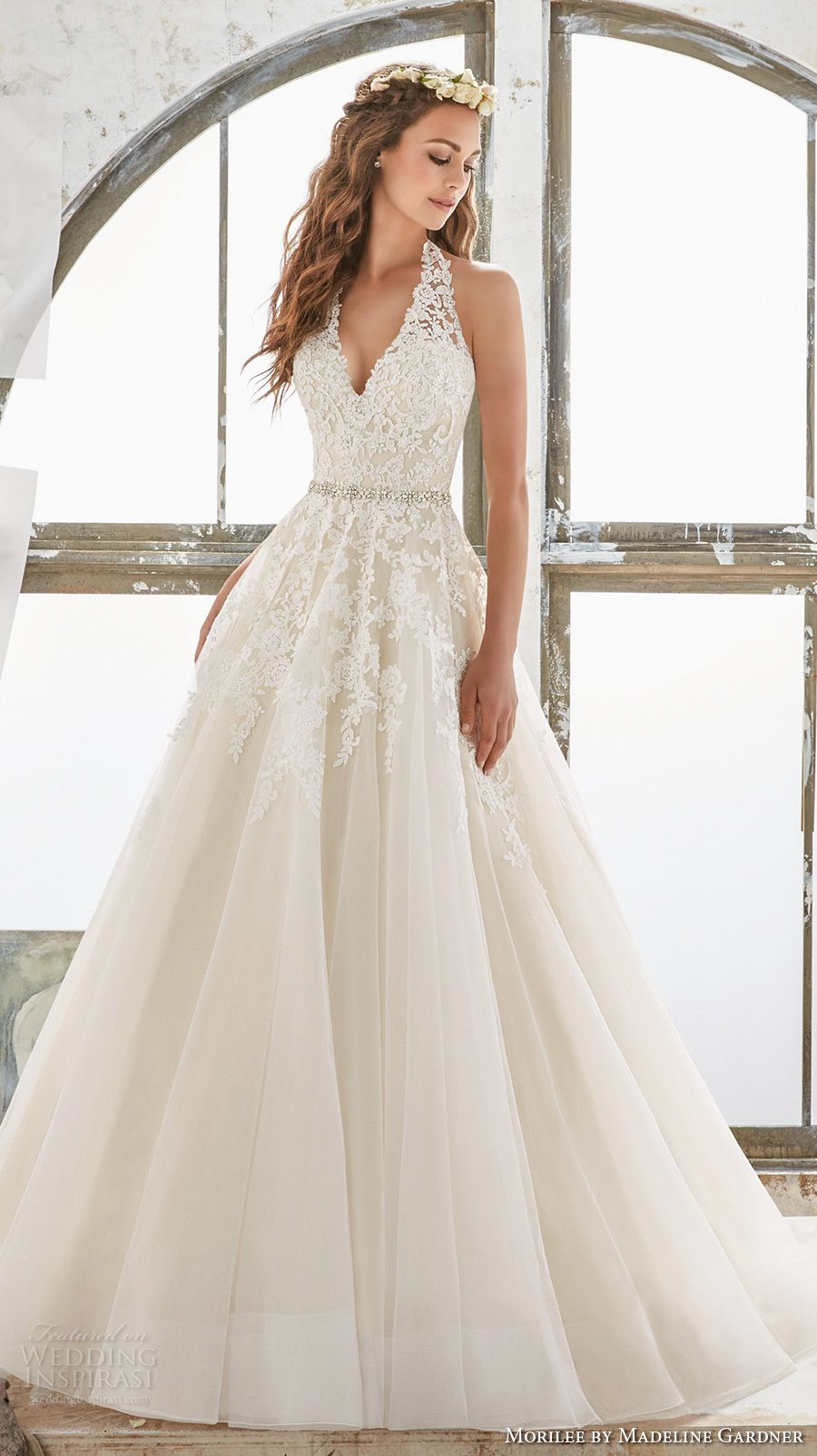 Morilee by madeline gardner spring 2017 wedding dresses blu morilee spring 2017 bridal sleeveless halter v neck heavily embellished bodice romantic a line wedding dress open low back chapel train 5513 mv junglespirit Images