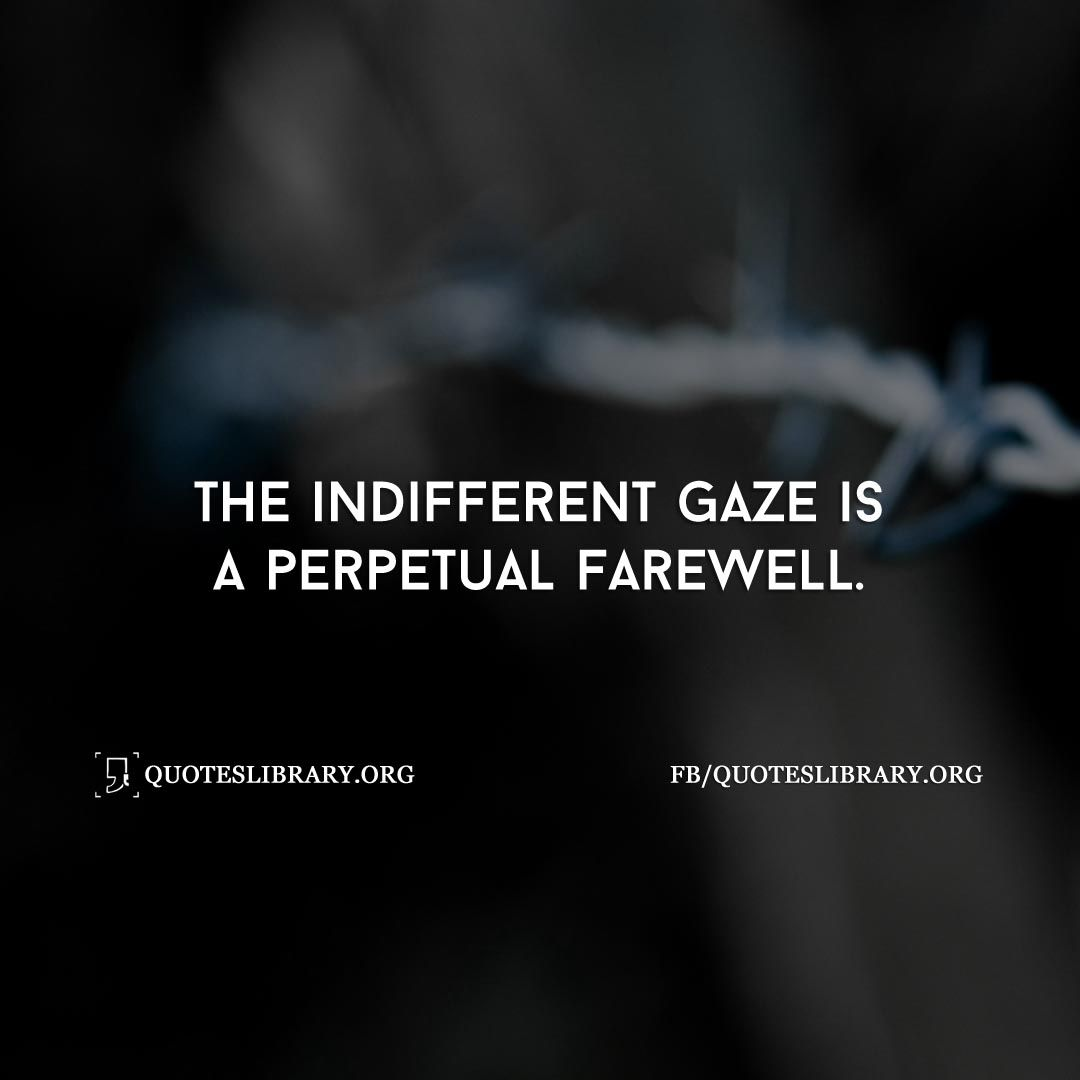 The indifferent gaze is a perpetual farewell